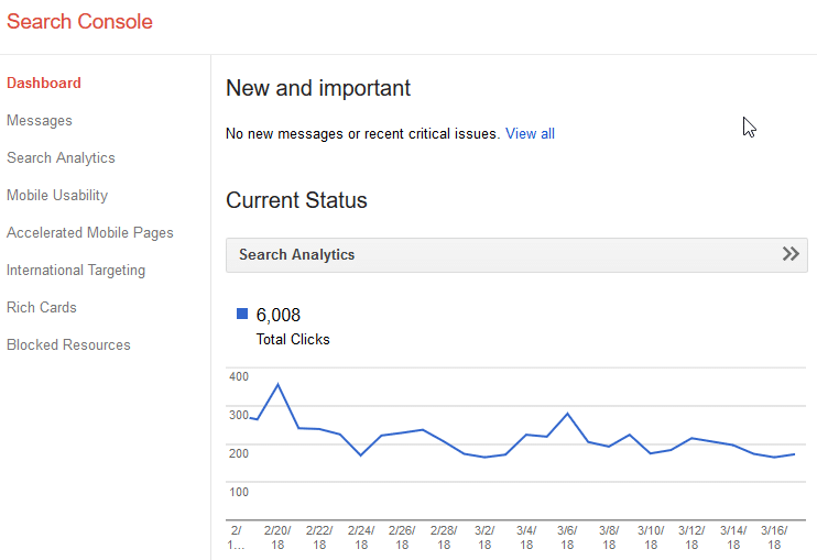 Google Search Console Old Site